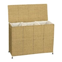 Household Essentials™ Seagrass Triple Laundry Sorter w/3 Removable Bags
