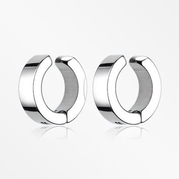 A Pair of Stainless Steel Non-Piercing Snap Clip Hoop Earring