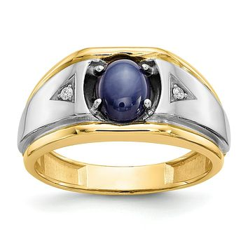 Lab Created Blue Star Sapphire & Diamond Men's Ring in 10k Yellow and White Gold