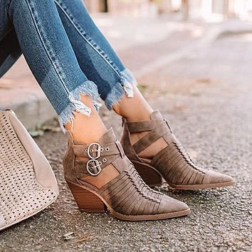 Women Ankle Boots Pointed Toe Pu Leather Low Heels Shoes Booties Sexy High Heels