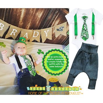 Baby Boy St. Patrick's Day Outfit with Shamrock Tie and Suspenders