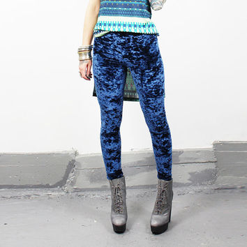Navy Crush Velvet Leggings - MADE -to- ORDER