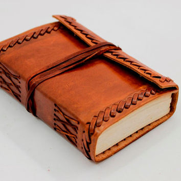 Antique Handmade Leather Journal Diary with leather tie closure | gifts for her, gifts for him