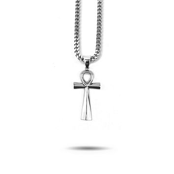Micro Ankh Piece Necklace in White Gold