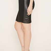 Faux Leather-Paneled Skirt