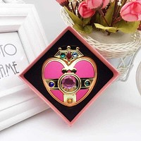 Anime Sailor Moon Cute Cartoon Crystal Pink Heart Make Up Mirror Case Compact Mirror Cosplay Prop Women Cosmetic Gift