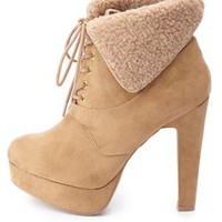 Shearling-Cuffed High Heel Work Booties by Charlotte Russe - Tan