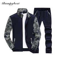 Spring Autumn Men's Clothing Suits Male Clothing Set Casual Sweatshirts Pant Men Patchwork Sportswear