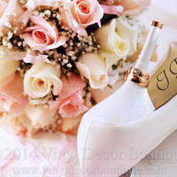 I Do shoe decal for brides shoes, wedding vinyl decal customized with date