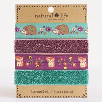 Hedgehog  &  Fox  Dazzle  Bracelet/Hairbands    From  Natural  Life
