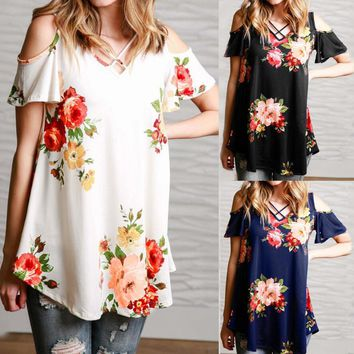 Casual Women T-shirt V-neck Short Sleeve Printed Off Shoulder Long Shirt Plus Size Women Clothing Tops