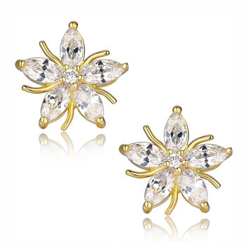 Gold Color Star Flower W. Marquise Clear Cubic Zirconia Stud Earrings
