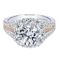 "Gabriel ""Bleecker"" 18K White Gold Cushion Halo Diamond Engagement Ring"