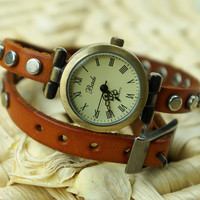 Handmade Rivet Vintage Double-wrap Watch