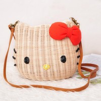 HELLO KITTY women handbags rattan straw beach bag 3 sizes cartoon character fabric high quality shoulder bag