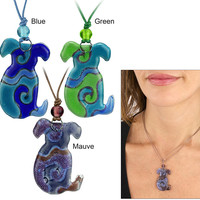 Dog Silhouette Artisan Glass Necklace