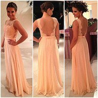 Long Backless Prom Dress - Lace Prom Dresses / Long Party Dress / Lace Prom Dresses / Evening Dress Lace / Prom Dres