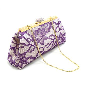 Ivory, Mystic Purple Lace and Yellow Wedding Clutch