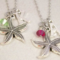 Two Best Friends Necklaces - Starfish Charm Necklaces - Personalized Birthstone Jewelry - Custom Monogram Jewelry - Best Friend Gift