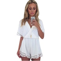Gold Graceful Women's Lace Deep V Neck Jumpsuits Rompers Size S Color White