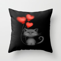 Kitty Love Throw Pillow by LouJah