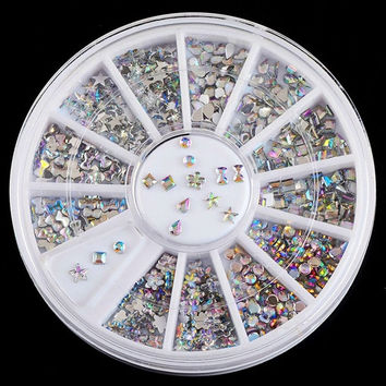 New 6 Style Colorful Acrylic Nail Art Tips Crystal Glitter Rhinestone Decoration (Size: 1.5 mm) = 5658862849