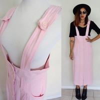 Vintage 80's suspender overalls button down maxi skirt pink pastel