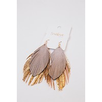 Francis Feather Earrings, Taupe/Rose