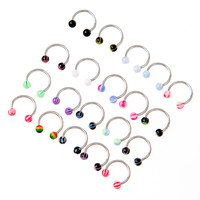 20pcscolorful-stainless-steel-ball-barbell-curved-nose-studs-rings-bars-piercing BBL