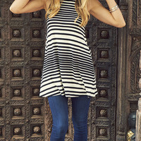 Earn Your Stripes Mock Neck Tunic Tank Top