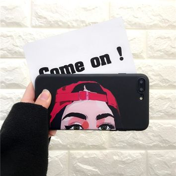 Fashion Cool Hat Girl Phone Case For iphone 7 Case Lovely Cartoon For iphone X 6 6S 7 8 Plus 5 5s se Soft Back Cover Cases on