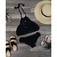 Treat Yourself Crochet Bib Bikini Set in Black