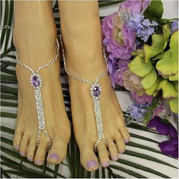 BRIDESMAID  barefoot sandals - lavender / lilac