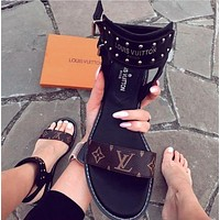 Louis Vuitton LV classic ladies print flat sandals Shoes