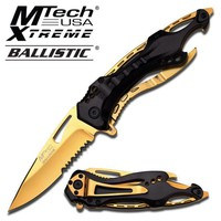 """4"""" Military TANTO Assisted RAZOR Tactical Pocket CLEAVER Folding OPEN Knife Gold"""