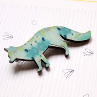Fox Brooch in blue and green colors - Woody collection - collaboration with Belinda Marshall