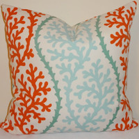 Two MatchingTurquoise Coral Shell Orange Pillow by HomeLiving