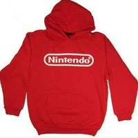 Nintendo Logo Men's Hoodie Sweatshirt Red
