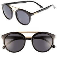 Women's Le Specs 49mm Retro Sunglasses - Black/ Gold With Green Lens
