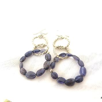 Blue Iolite Hoop Earrings, Gift for her