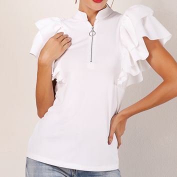 Hot style is a hot seller of frilled women's shirts with zipper collar