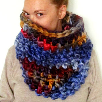 The Chunkiest Cowl Scarf Ever. Otherworldly Jeweltones. One of a kind Circle Scarf. Ready to Ship.