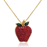 18k Gold over Sterling Silver Red Apple Crystal Pendant with Swarovski Elements