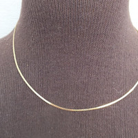 """Shiny 14K Yellow Gold Serpentine Style Gold Necklace, 18"""" Length, 1/16"""" Width, Beautiful Precious Metal Jewelry, Free Shipping  and Gift Box"""