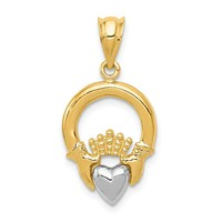 14k Two-tone Gold Claddagh Pendant
