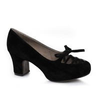 Black Faux Suede Chunky Heel Bow Accent Pumps