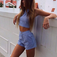 SUMMER HOT TWO PIECE STRIPED SUIT BLUE SET