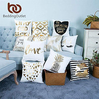 Gold Printed Decorative Pillow Case