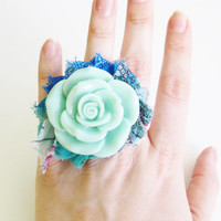 Aqua, mint, peacock green and dazzling blue flower ring