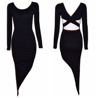 Black Asymmetrical Cutout Long Sleeve Bodycon Maxi Dress